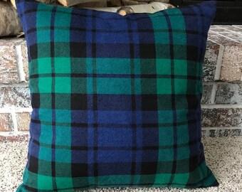 Flannel, Tartan Plaid Throw Pillow Cover - Green, Blue and Black