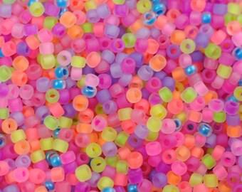 11/0 Matte Neon Mix Japanese Seed Beads / 28 Grams / Miyuki Seed Beads / 11FNMX