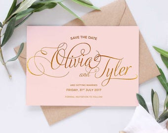 Wedding save the dates, Blush and Gold
