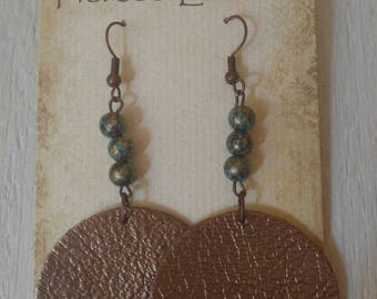 Leather statement earrings/Circle leather earrings/ Beaded leather earrings