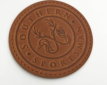 custom synthetic leather label, synthetic leather patch