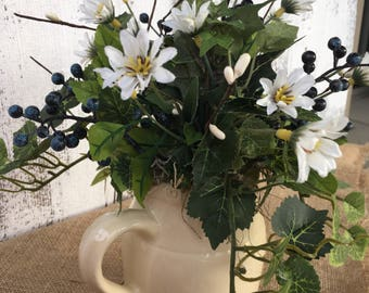 Small Pitcher with Blue Berries and Ivy Arrangement, Spring Arrangement, Summer Arrangement, Vintage Crock Pitcher, Table Decor