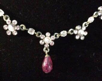 Pretty Pink Rhinestone & Bead Necklace