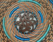 Pine Needle Tray Basket - Black Walnuts stitched with Baby Blue thread - Hand stitched recycled material - 80.00