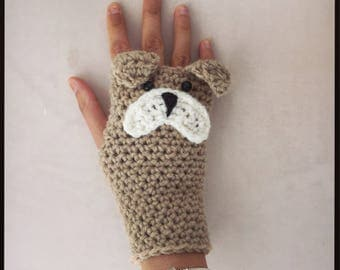 Bulldog, frenchie, fingerless gloves, mittens, wrist warmers. Perfect dog lover gift.