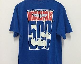 SALE 25% Vintage 90s Indianapolis 500 Tshirt Formula 1 Size L