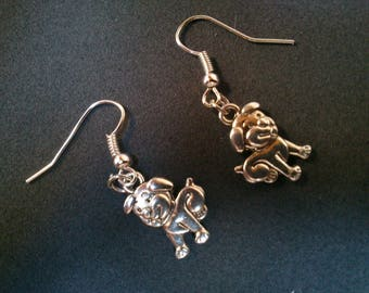 Adorable Stud Earrings small silver dog puppies