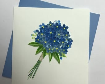 Forget-Me-Not Flower Quilling Greeting Card