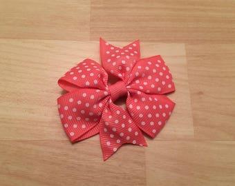 Coral Pink Hair Bow - Toddler Hair Bow - Small Hair Bow