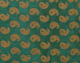 10% Off On Half Yard of Dark Green and Golden Paisley Pattern Brocade Silk Fabric, Brocade Silk Fabric, Indian Brocade Silk