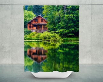 Lakehouse Shower Curtain | Lake Life | Lake Bath Curtain | Lake House  Bathroom Decor |