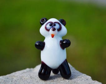 Glass panda sculpture panda figurines panda murano animals panda figures toys gift artglass blown baby toys for children