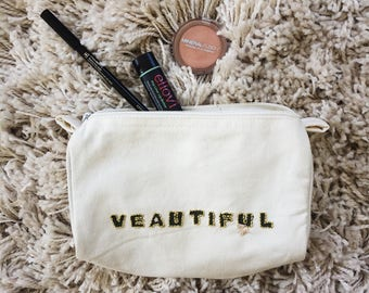 Veautiful //  Hand-Embroidered Cosmetic Bag