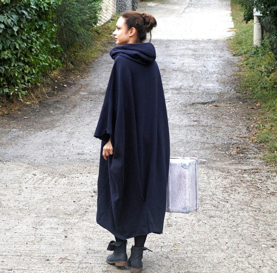 Maxi Abaya Hooded Sweatshirt, Lagenlook Caftan Dress, Fall Fashion Outwear, Oversized Black Gown, Warm Quilted Cotton Hoodie