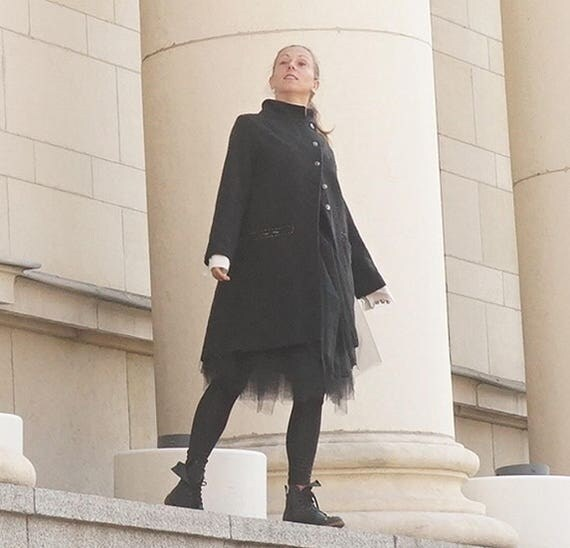 Cashmere Wool Rever Jacket, Vintage Handmade Pockets Black Jacket, Edgy Alternative Coat, Concept Jacket, Grunge Jacket