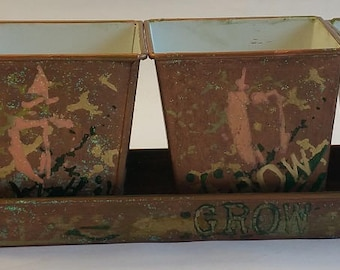 """Square Metal Planters """"GROW SET"""" part of the """"Go GREEN!"""" series"""