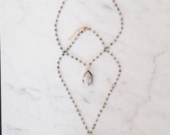 Gold Plated Rosary Choker Necklace w/Crystal Stones...Teardrop or Circle