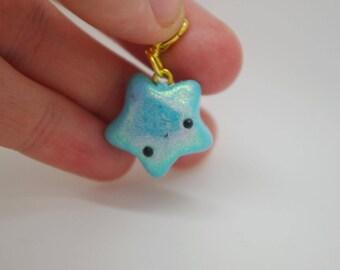 Polymer clay, handmade, blue, shimmery, kawaii, star, fashion charm