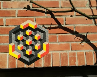 Op-Art II. - handmade mosaic stickers with recycled textile materials by caraWonga