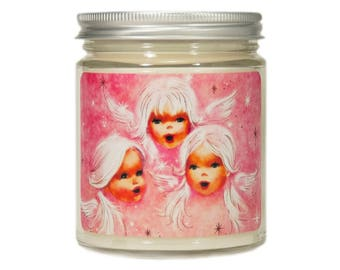 Christmas Candle, Holiday Candle, Scented Candle, Angel Candle, Container Candle, Soy Candle, Pink Christmas, , Christmas Decor