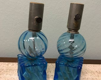 Antique Blue Glass Swirl Dual Wired Table Lamps