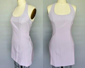 mariah / 90s minimalist halter mini dress in pale purple