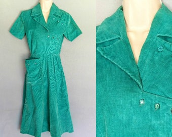 bejeweled / 1950s teal corduroy dress with blue rhinestone jewel buttons / 0 2 xs