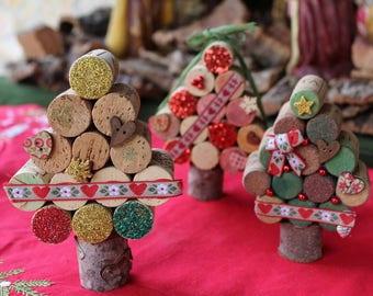 Christmas tree decorations made of Cork-ornaments, xmas