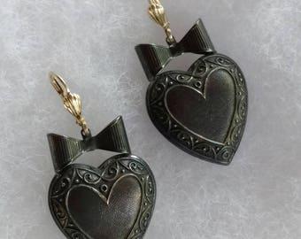 Vintage Heart Shaped Pierced Earrings