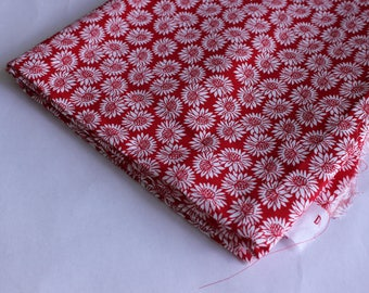 Red and white poly cotton with flower print