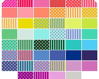 PRE-ORDER All Stars Pom Poms, Solids and Stripes Charm Pack by Tula Pink