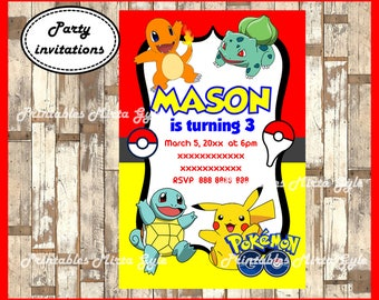 Pokemon Invitation, printable Pokemon Invitation, Pokemon birthday invitation
