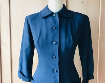 1940s navy blue dress from France with pleated skirt and Peter Pan collar