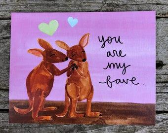 Valentine Kangaroos Postcard