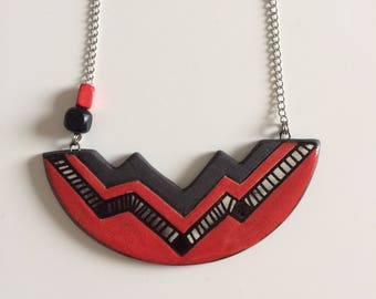 Necklace, geometric red and black, asymmetrical, ceramic, chain
