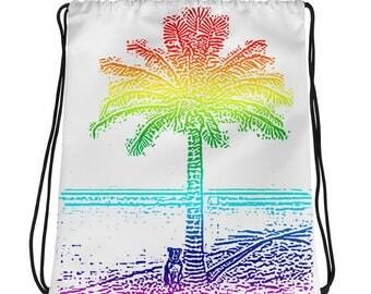 Dog Day at the Beach Drawstring bag