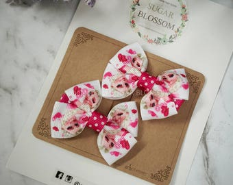 1pair frozen double bow hair clips st1 - hair accessories - baby hair clips - girls hair clips - handmade by sugrblossom