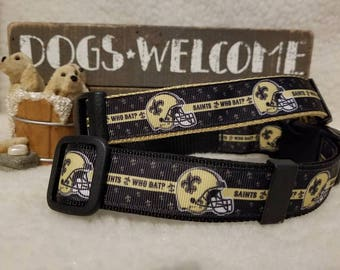 Saints Handmade Dog Collar 1 Inch Wide Large & Medium