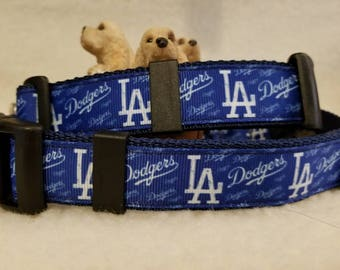 Dodgers Baseball handmade Dog Collar 1Inch Wide Large & Medium