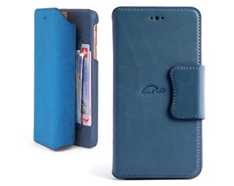 iPhone 6 Plus Wallet Case Leather - Wallet Case iPhone 6 Plus - iPhone Wallet Case - Leather Flip Case iPhone 6 Plus - Stand - METAL BLUE