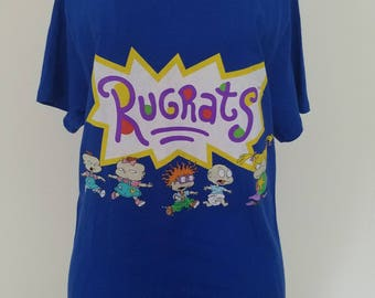 Totally 90s Fashion! Throwback to 1990's Childhood - Rugrats Unisex T-Shirt in Blue - Men/Juniors Size Small - Old Stock but New Product!