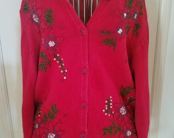 Awesome 80's Vintage Holiday/Christmas Sweater! Red Button Up Holly Leaf/Red Floral Sequin Embroidery~Draper's and Damon's Petites ~ PS
