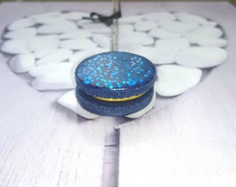 Blue glitter polymer clay macaroon necklace