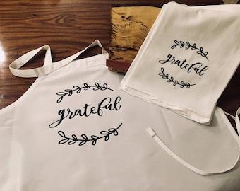 Funny kitchen towel, flour sack kitchen towel, Grateful kitchen towel and apron set