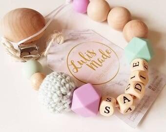 Beaded pacfier clip Baby holder Clip personalized baby gift, attache sucette tètine, Schnullerkette, portacuccio, Mordedor, baby accessory