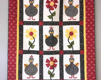 "Quilt pattern ""Hip Chicks"" - finished size 41"" x 53"""