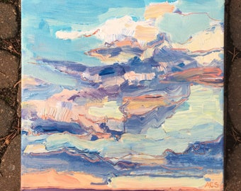 10x10 inch Original Acrylic Alberta Landscape Sky Painting (ready to hang) - 'the easy days'