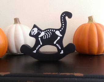 Skeleton Rocking Cat    Two Sided Wooden Cat Ornament    Halloween Decoration