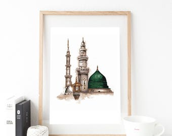 A4 Masjid An-Nabawiy watercolour painting print