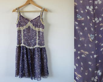 90's Pretty Floral Tea Dress / Sz 10 / Floaty Purple Beaded Chiffon / Bohemian Festival Hippy Dress /